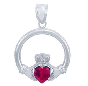 Silver Claddagh Ruby CZ Heart Pendant (M)