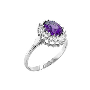 Genuine Amethyst Fancy Engagement/Wedding Solitaire Ring in Sterling Silver