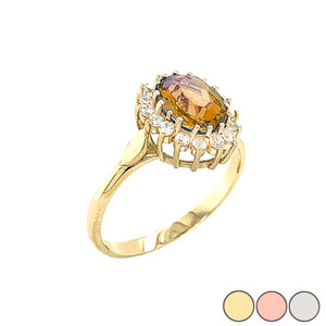 Genuine Citrine Fancy Engagement/Wedding Solitaire Ring in Gold (Yellow/Rose/White)