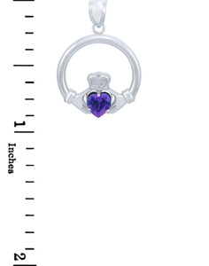 Silver Claddagh Amethyst CZ Heart Charm Pendant (S)