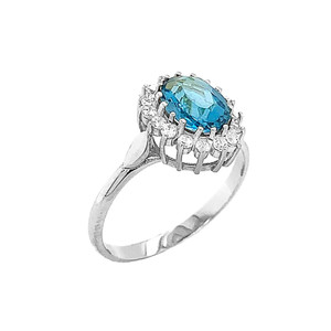 Genuine Blue Topaz Fancy Engagement/Wedding Solitaire Ring in Sterling Silver