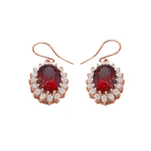 Genuine Garnet Oval-Shaped Fancy Dangle Earrings in Gold (Yellow/Rose/White)