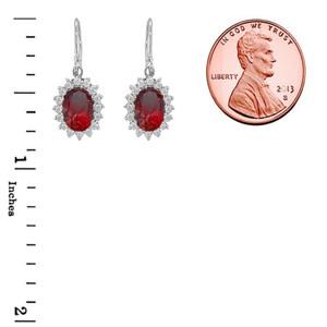 Genuine Garnet Oval-Shaped Fancy Dangle Earrings in Sterling Silver
