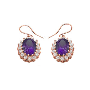 Genuine Amethyst Oval-Shaped Fancy Dangle Earrings in Gold (Yellow/Rose/White)