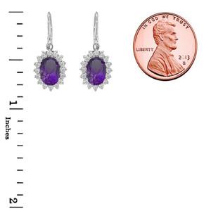 Genuine Amethyst Oval-Shaped Fancy Dangle Earrings in Sterling Silver
