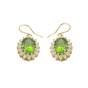 Genuine Peridot Oval-Shaped Fancy Dangle Earrings in Gold (Yellow/Rose/White)