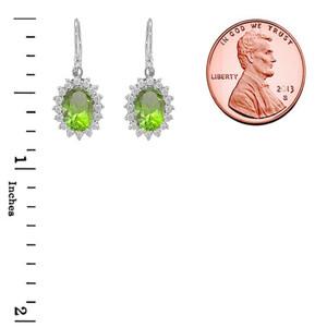 Genuine Peridot Oval-Shaped Fancy Dangle Earrings in Sterling Silver