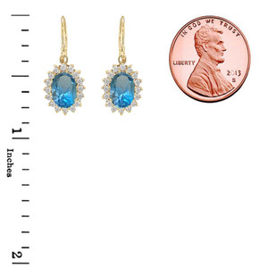Genuine Blue Topaz Oval-Shaped Fancy Dangle Earrings in Gold (Yellow/Rose/White)