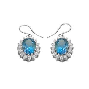 Genuine Blue Topaz Oval-Shaped Fancy Dangle Earrings in Sterling Silver