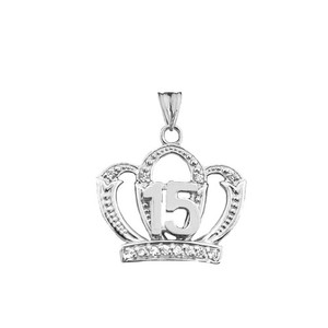 Quinceanera Sweet 15 Anos Princess Crown Pendant Necklace in Gold (Yellow/Rose/White)