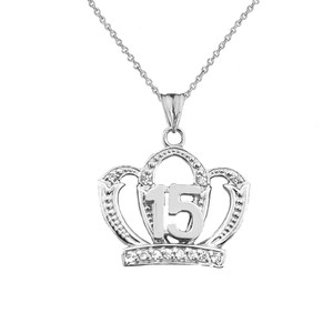 Quinceanera Sweet 15 Anos Princess Crown Pendant Necklace in Sterling Silver