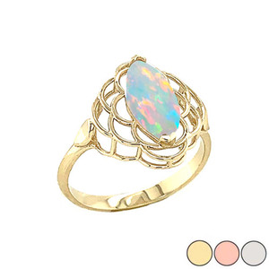 Simulated Opal Open Work Ring In Gold (Yellow/Rose/White)