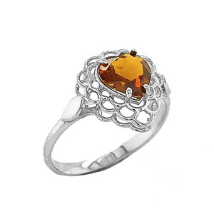 Citrine Filigree Heart-Shaped Ring in Sterling Silver