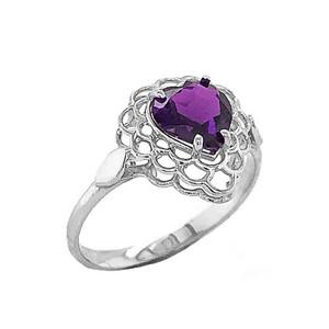 Amethyst  Filigree Heart-Shaped Ring in Sterling Silver
