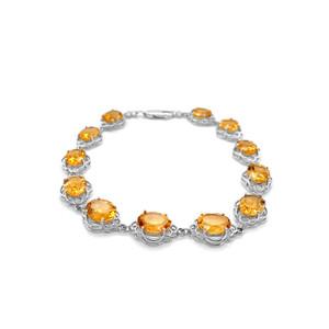 Genuine Amethyst/Citrine/Opal (9 x 7) Open-Work Bracelet in Sterling Silver