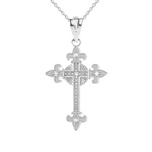 Diamond Saint Cross Pendant Necklace in in Gold (Yellow/Rose/White)