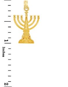 Jewish Gold Pendants - Menorah Yellow Gold Pendant