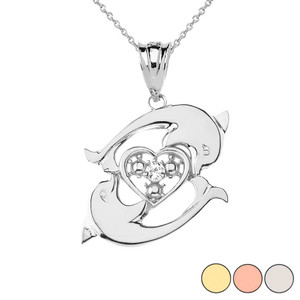 Circling Dolphin Heart Pendant Necklace in Gold (Yellow/Rose/White)