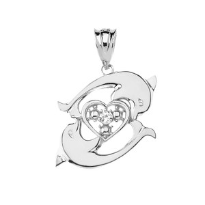 Circling Dolphin Heart Pendant Necklace in Sterling Silver