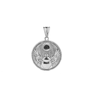 Ancient Egyptian Scarab Beetle and Sun Disc Pendant Necklace in Sterling Silver