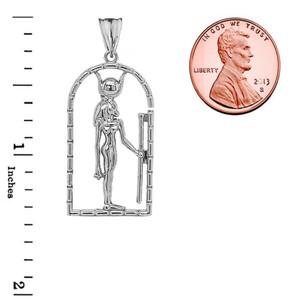 Hathor Egyptian God Pendant Necklace in Sterling Silver