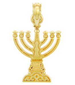 Jewish Gold Pendants - Yellow Gold Menorah Pendant