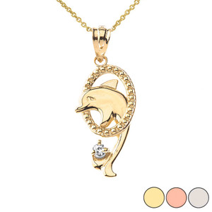 Shiny Dolphin Hoop Pendant Necklace in Gold (Yellow/Rose/White)
