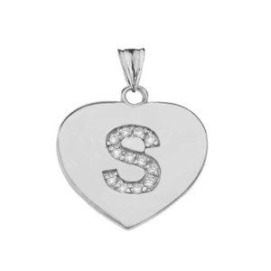 Diamond Initial A-Z Heart Pendant Necklace in Sterling Silver