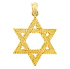 Jewish Gold Pendants - Star of David Yellow Gold Pendant
