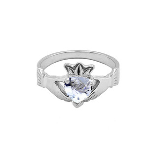 Sterling Silver Birthstone CZ Claddagh Proposal Ring
