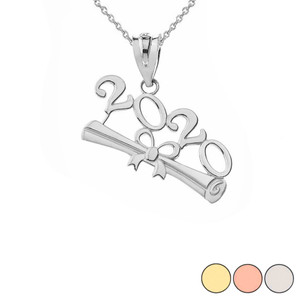 Class of 2020 Graduation Pendant Necklace in Gold (Yellow/Rose/White)