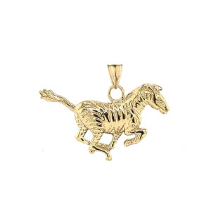 Zebra Pendant Necklace in Gold (Yellow/Rose/White)