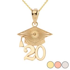 Gold 2020 Graduation Cap Pendant Necklace (Yellow/Rose/White)