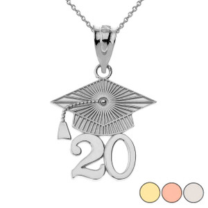 Gold 2020 Graduation Cap Pendant Necklace (Yellow/Rose/White)