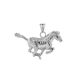 Zebra Pendant Necklace in Sterling Silver