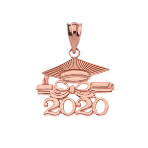 Gold Class of 2020 Graduation Diploma & Cap Pendant Necklace (Yellow/Rose/White)