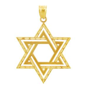 Jewish Charms and Pendants - Star Satin Cross of David