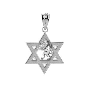 Star of David with Lion of Judah Pendant Necklace in Gold (Yellow/Rose/White)