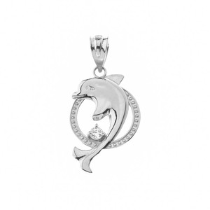 Gold Hoop Jumping Dolphin CZ Pendant Necklace  (Yellow/Rose/White)