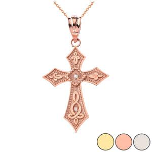 Gold Cross Diamond Pendant Necklace  (Yellow/Rose/White)