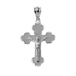 Gold INRI Crucifix Cross Pendant Necklace (Yellow/Rose/White)
