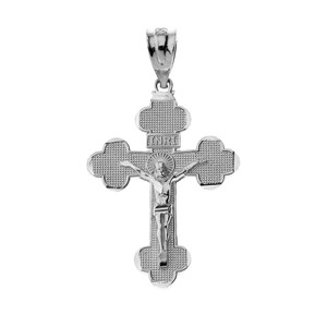 Sterling Silver INRI Crucifix Pendant Necklace (S/M/L)