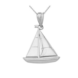 SailBoat Pendant Necklace in Gold (Yellow/Rose/White)