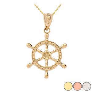 Ship Wheel Pendant Necklace in Gold (Yellow/Rose/White)