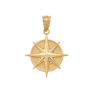 Gold Compass Pendant Necklace (Yellow/Rose/White)