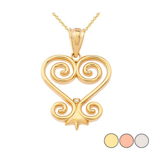 Diamond Heart Pendant Necklace in Gold (Yellow/Rose/White)