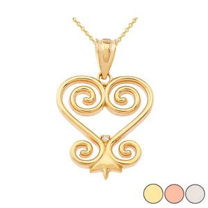 Diamond African Sankofa Pendant Necklace in Gold (Yellow/Rose/White)
