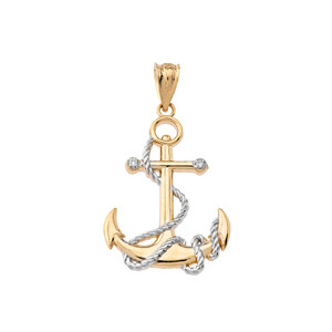 Two-Tone Gold Diamond Nautical Rope Anchor Pendant Necklace