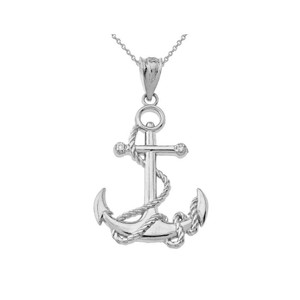 Sterling Silver Cubic Zirconia Nautical Rope Anchor Pendant Necklace