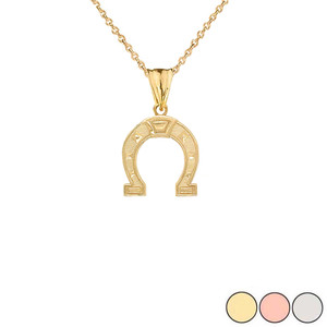 Horsehoe Charm Pendant Necklace in Gold (Yellow/Rose/White) (Large)